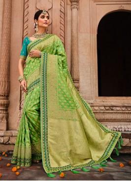 Green Color Weaving Silk Simple Saree
