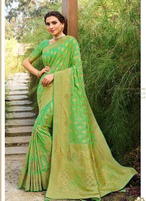 Green Color Woven Silk Saree