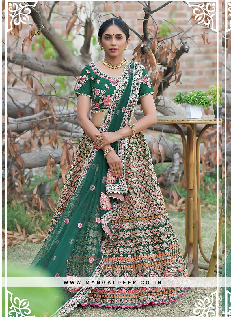 Green Color Zari Work Mehndi Wear Lehenga