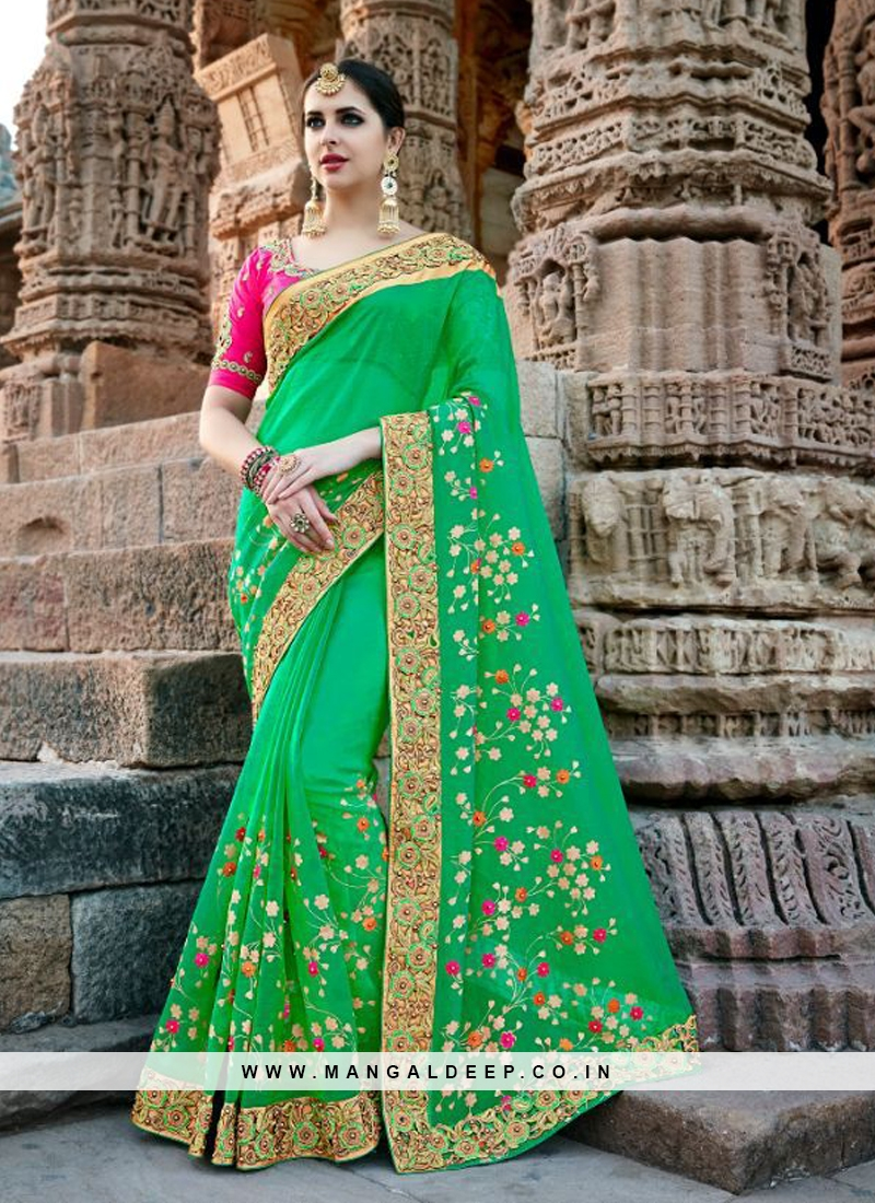 Green Designer Embroidered Party Wear Saree