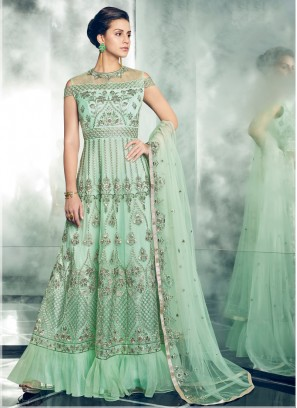 Green Embroidered Floor Length Anarkali Suit