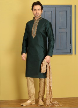 Green Embroidered Kurta Pajama