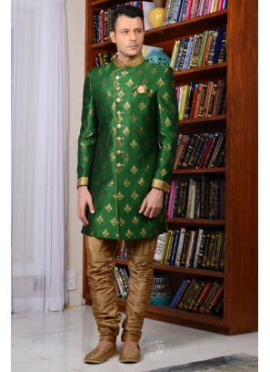 Green Indowestern Style Sherwani For Groom