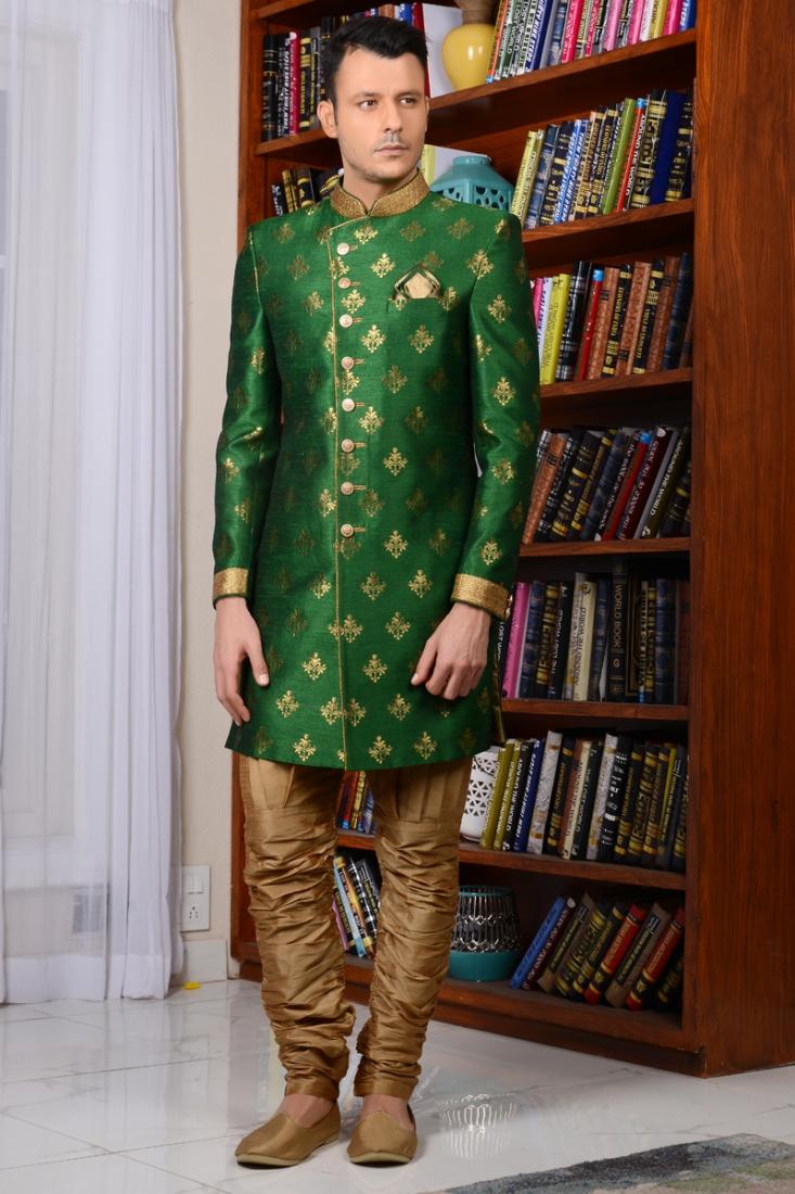 Green Indowestern Style Sherwani For Groom