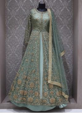 Green Net Designer Wedding Wear Gown