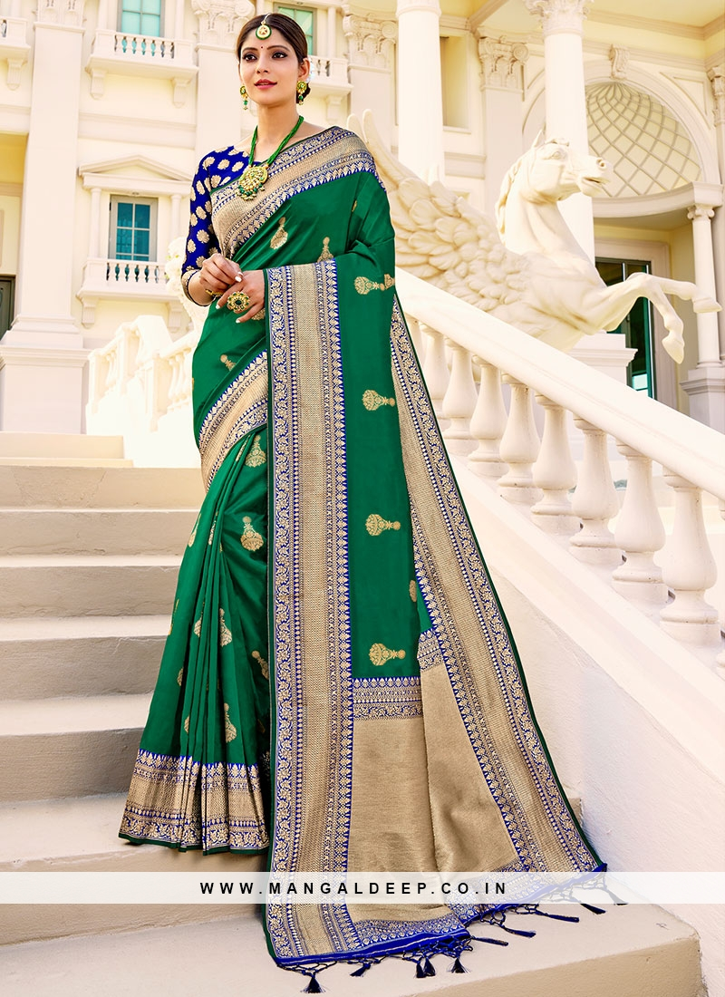 Green Saree In Silk Fabric