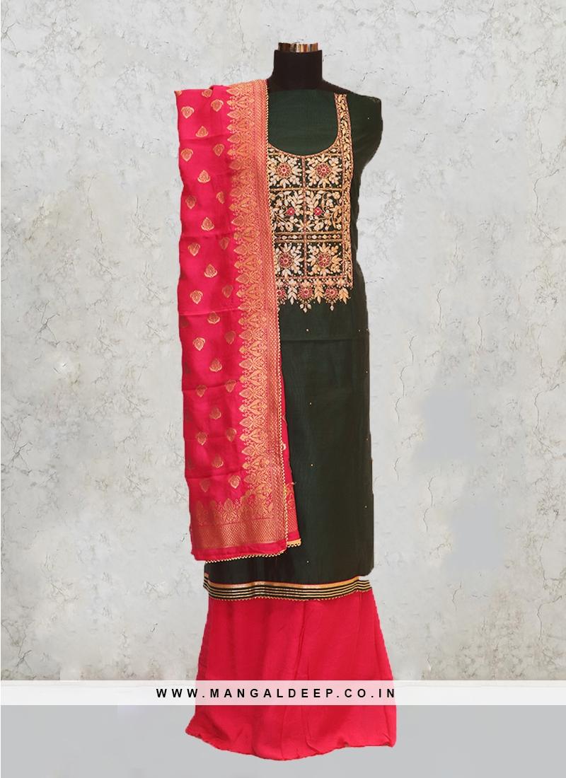 Green Silk Hand Work Salwar Kameez