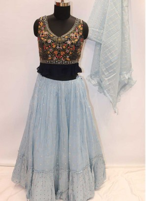 Grey And Blue Color Georgette Lehenga