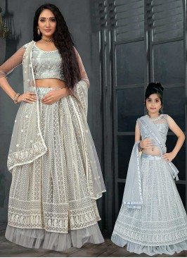 Grey And Blue Color Net Mother Daughter Lehenga