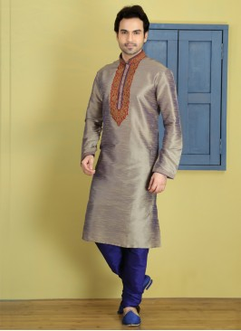 Grey Art Dupion Silk Kurta Pajama