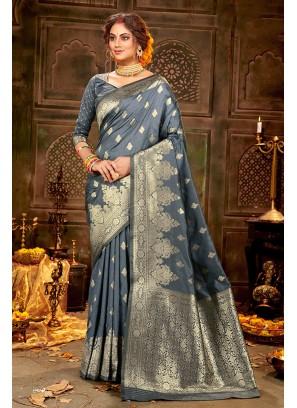 Grey Banarasi Silk New Saree