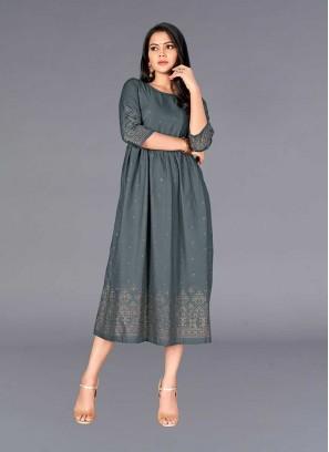 Grey Color Anarkali Style Cotton Kurti