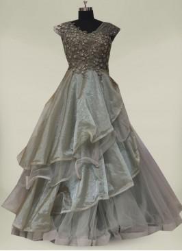 Grey Color Applique Flower Gown