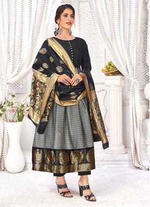 Grey Color Banarasi Silk Kurti