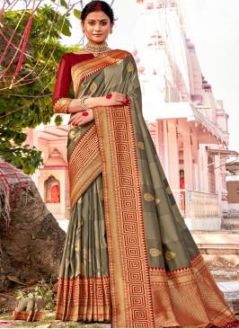 Grey Color Banarsi Silk Saree