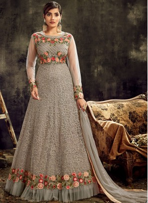 Grey Color Butterfly Net Anarkali Gown