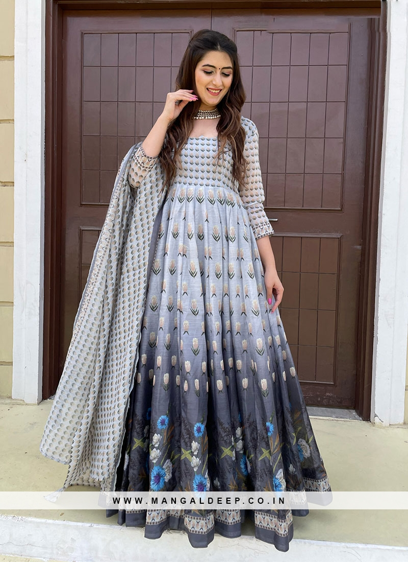 Grey Color Chaderi Printed Anarkali Gown