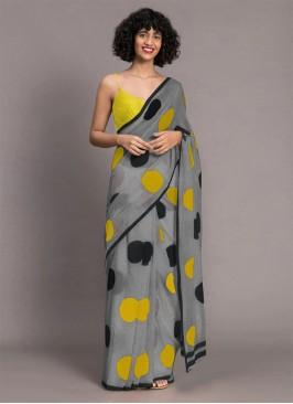 Grey Color Chanderi Printed Saree
