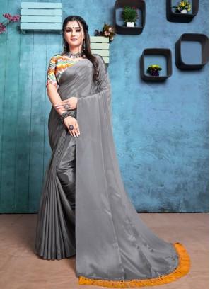 Grey Color Chiffon Exclusive Saree
