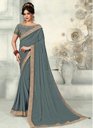 Grey Color Chiffon Saree With Unstitched Blouse