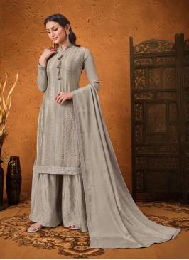 Grey Color Chinon Pakistani Salwar Suit