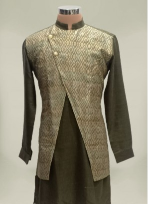 Grey Color Cotton And Silk Mens Koti