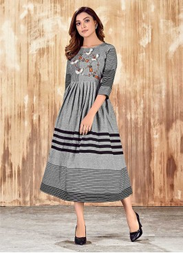 Grey Color Cotton Hand Embroidered Kurti