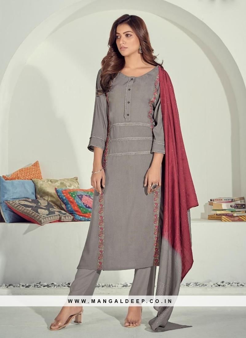 Grey Color Cotton Kurti With Pant
