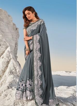 Grey Color Cut Dana Work Net Saree