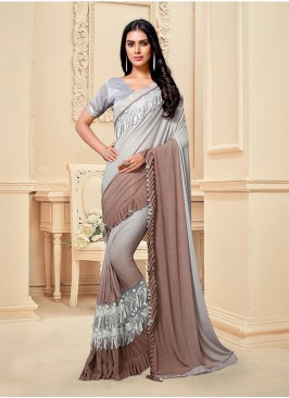 Grey Color Fancy Fabric Designer Saree