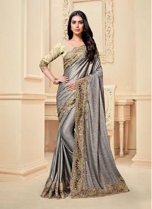 Grey Color Fancy Fabric Frill Saree