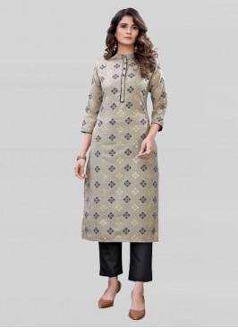 Grey Color Foil Print Cotton Kurti