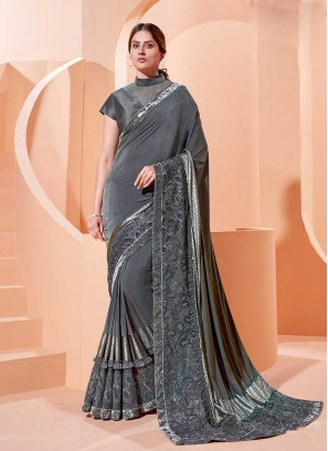 Grey Color Frill Style Saree