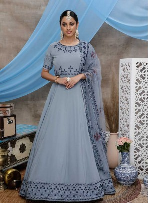 Grey Color Georgette Embroidered Indian Gown