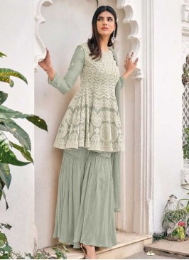 Grey Color Georgette Embroidered Sharara Suit