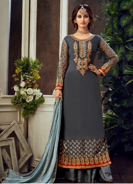 Grey Color Georgette Pakistani Style Suit