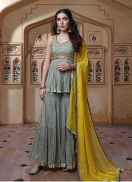 Grey Color Georgette Sharara Dress