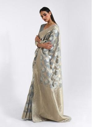 Grey Color Linen Classic Saree