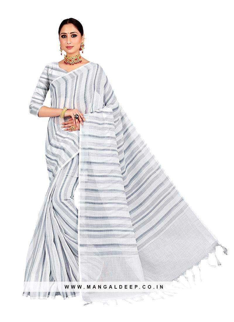 Grey Color Linen Fancy Saree