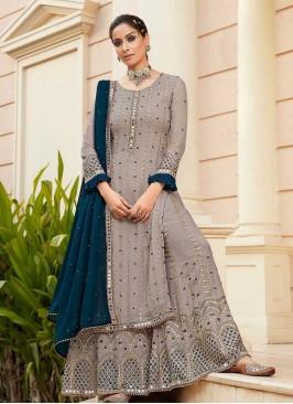 Grey Color Mirror Work Ladies Sharara Suit