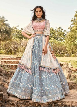 Grey Color Mirror Work Stylish Lehenga
