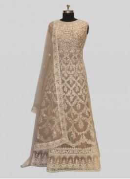 Grey Color Net Diamond Work Latest Design Gown