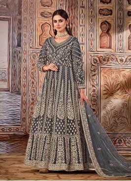 Grey Color Net Embroidered Anarkali Dress