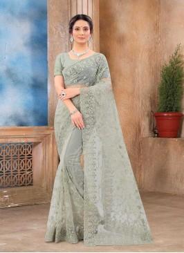 Grey Color Net Fancy Saree