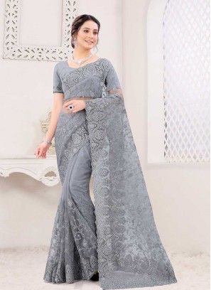 Grey Color Net Gorgeous Saree