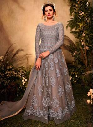 Grey Color Net Latest Designer Anarkali Suits