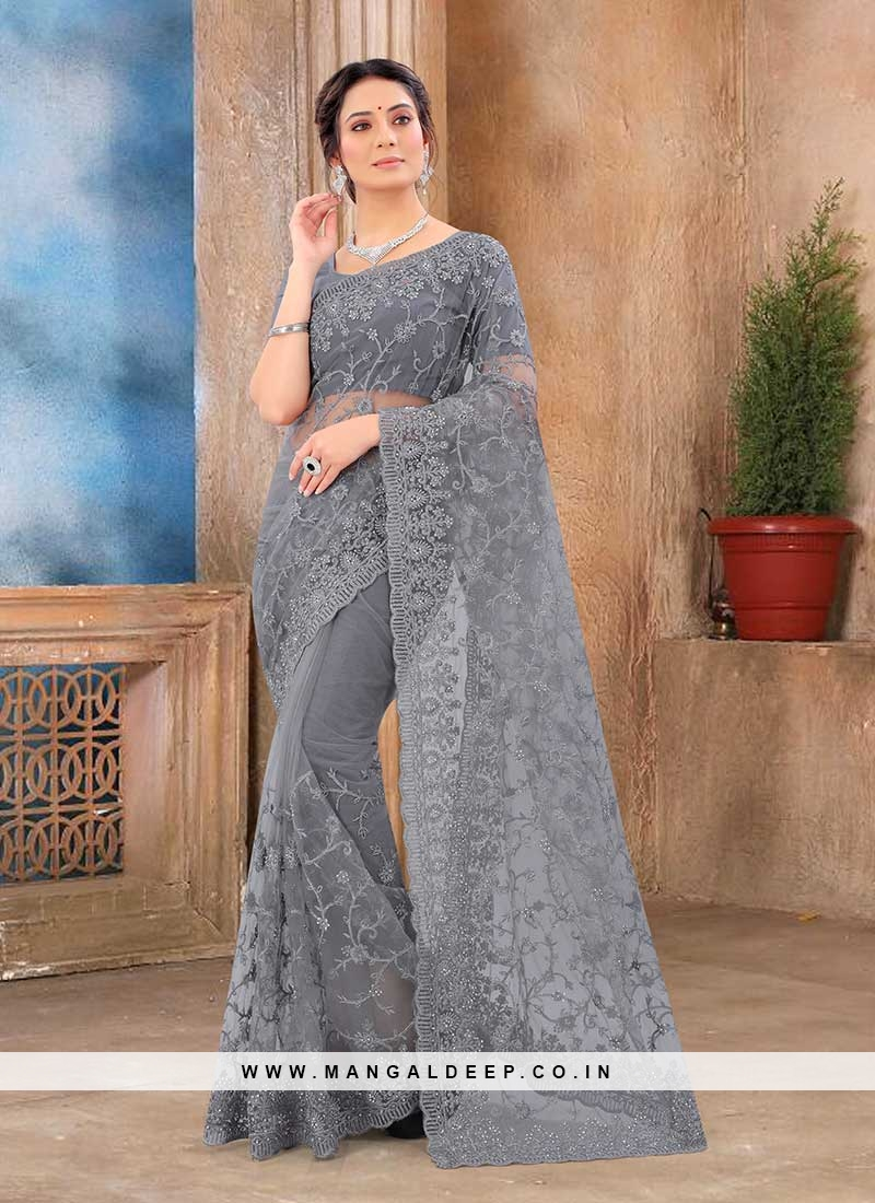 Grey Color Net New Saree
