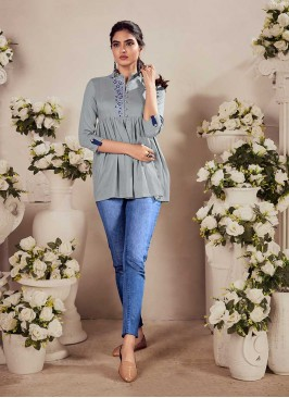 Grey Color Rayon Jeans Wear Top