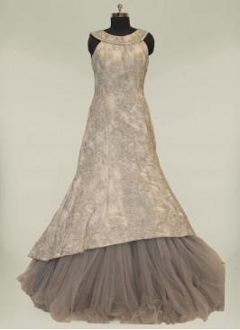 Grey Color Resham Work Silk Bridal Gowns