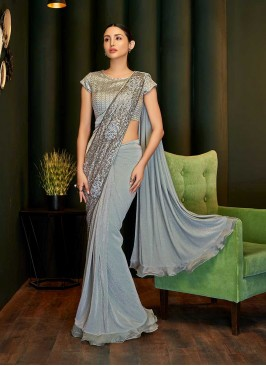 Grey Color Saree With Readymade Blouse